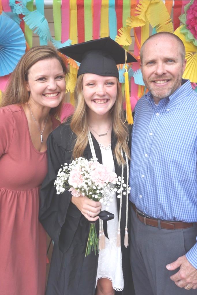 Homeschool Graduation Picture - Graduate and Parents
