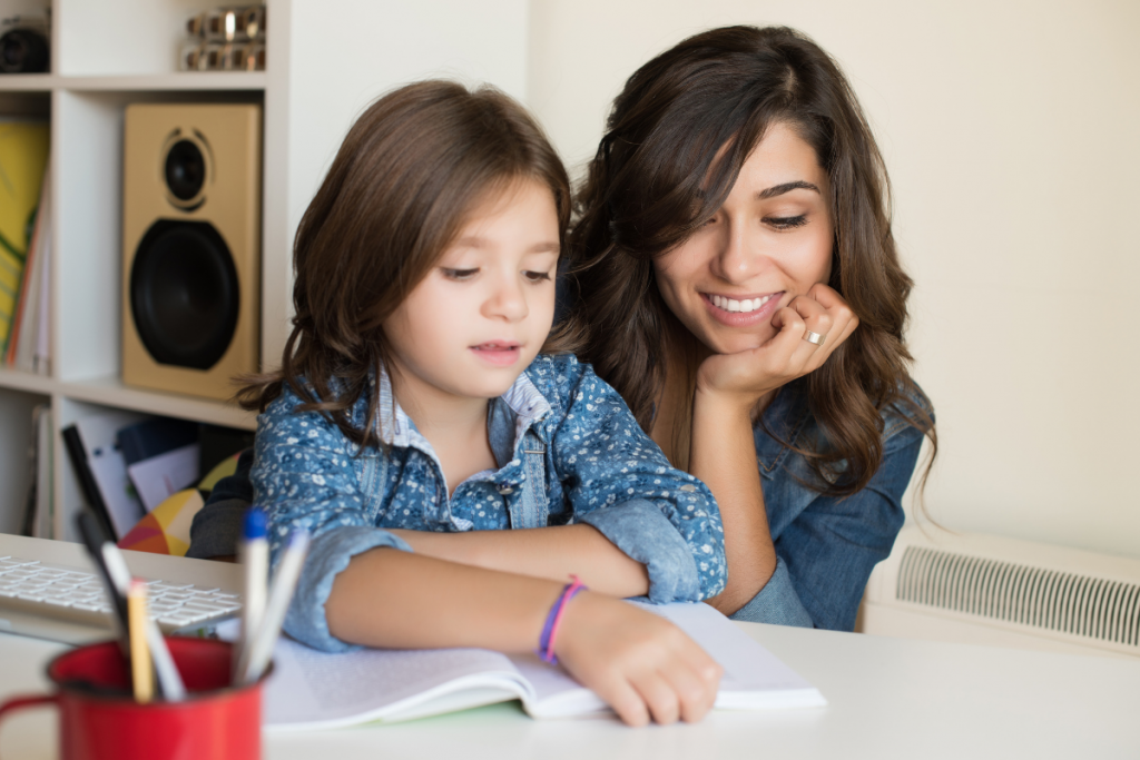 Homeschooling Mom with her Daughter
