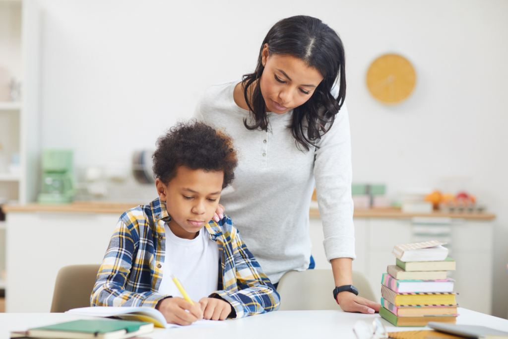 Homeschooling Mom with her Son