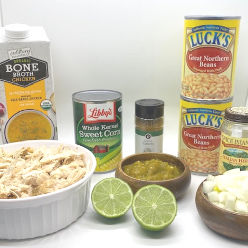 Ingredients needed for white chicken chili that feeds a crowd.