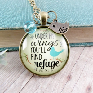 Ps 91:4 Inspirational Necklace